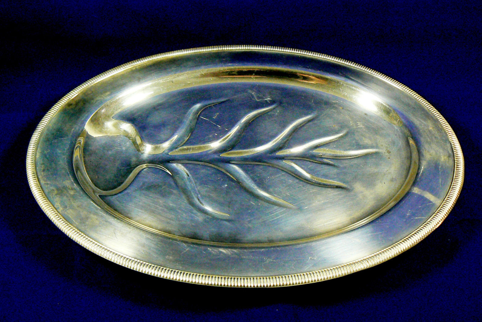 Primary image for W.M. Rogers Silver Plated Serving Tray Oval Platter Family Live tree Harvest