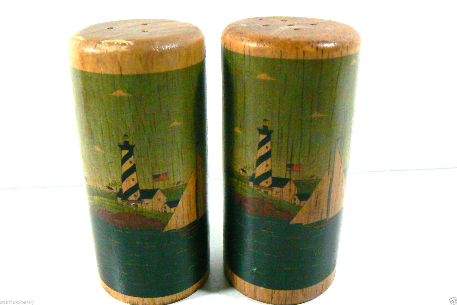 Primary image for VINTAGE WARREN & kIMBLE STAINED WOOD SALT & PEPPER SHAKERS LIGHTHOUSE SAILBOAT