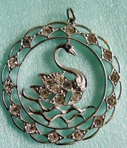 Fashion Large Silver Tone Filigree Clear Crystal Swan round Pendant - $39.00