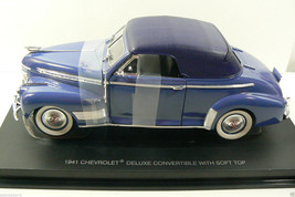 1941 CHEVROLET DELUXE CONVERTIBLE WITH SOFT TOP, BLUE ON BLUE CAR MODEL - $76.50