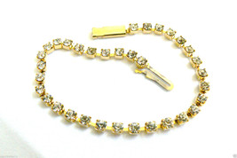 "BRIDAL FASHION GOLD TONE BRILLIANT CLEAR RHINESTONES TENNIS BRACELET 7"" - $39.20"