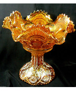Vintage Marigold Iridescent INMERIAL CARNIVAL GLASS Ruffled Bowl w Stand... - $259.00