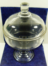 Vintage Clear Glass Footed Round with Lid piede... - $53.10