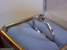 18 K White Gold Round Cut Ruby  Ring Band sz 8 $450 NWT - $183.20
