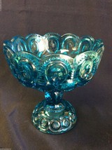 VTG LE Smith Moon & Stars Blue Glass footed piedestal Bowl Candy Compote... - $46.00