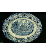 "LIBERTY BLUE Staffordshire England 12"" Oval Platter Governors House Will... - $95.00"
