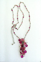 Multi Pink crystal Pearl faux beaded charm Cluster silver tone Necklace ... - $39.20