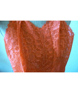VTG Elegance Vanity Fair Coral Red lace nylon tricot sz 32 Slip Gown Lin... - $89.00