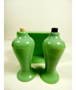 VTG  Mid-Century Retro Carvanite Salt & Pepper Shaker Set Jedite green c... - $24.00