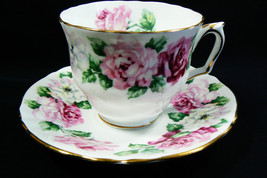 Crown Staffordshire England Bone China Trinity Rose pattern Tea Cup & Sa... - $39.00