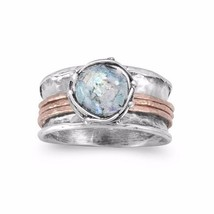 Two Tone Roman Glass Sterling Silver Spin Ring - $149.95