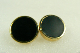 NINE WEST SIGNED ELEGANT BLACK & GOLD TONE CLIP EARRINGS $0 SHIPPING - $15.96