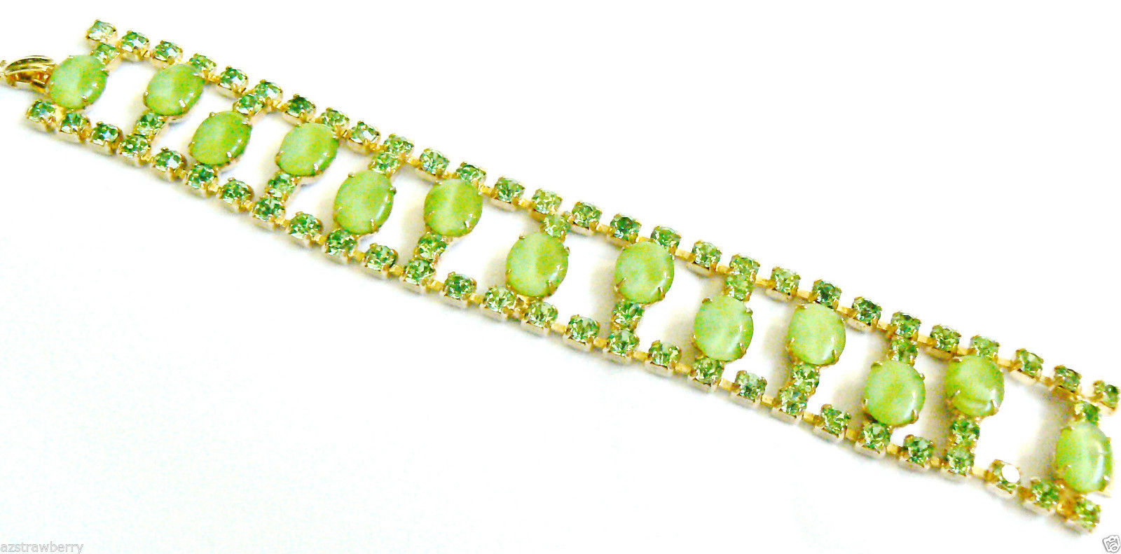 "Primary image for VINTAGE GOLD TONE GREEN THERMOSET & CRYSTAL RHINESTONE BRACELET 7""L"