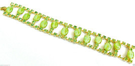 "VINTAGE GOLD TONE GREEN THERMOSET & CRYSTAL RHINESTONE BRACELET 7""L - $71.20"