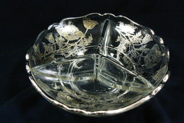 VINTAGE SILVER CITY FLANDERS FLOWERS CLEAR GLASS DIVIDED BOWL PLATE DISH - $39.00