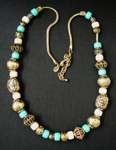 Joan Rivers signed Gold tone metal round chain slide blue white beads necklace - $71.20