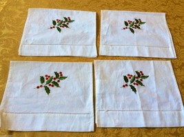 Set of 4 Lillian Vernon cotton Placemats Table doily towel Holiday Embroidery - $30.00