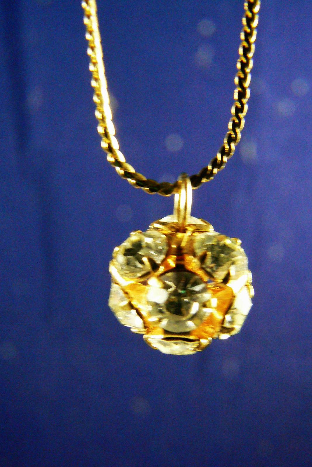 gold tone metal sphere drop pendant chain