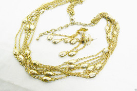 Fashion Gold Tone multi chains hummered beads Necklace & Earrings Set - $47.20