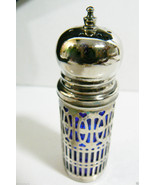 Silver plate Cobalt Blue Glass Salt or Pepper Shaker Onion top signed UK - $28.00