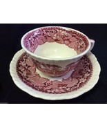 MASON'S VISTA ENGLAND IRONSTONE CHINA PINK RED CUP AND SAUCER - $42.00