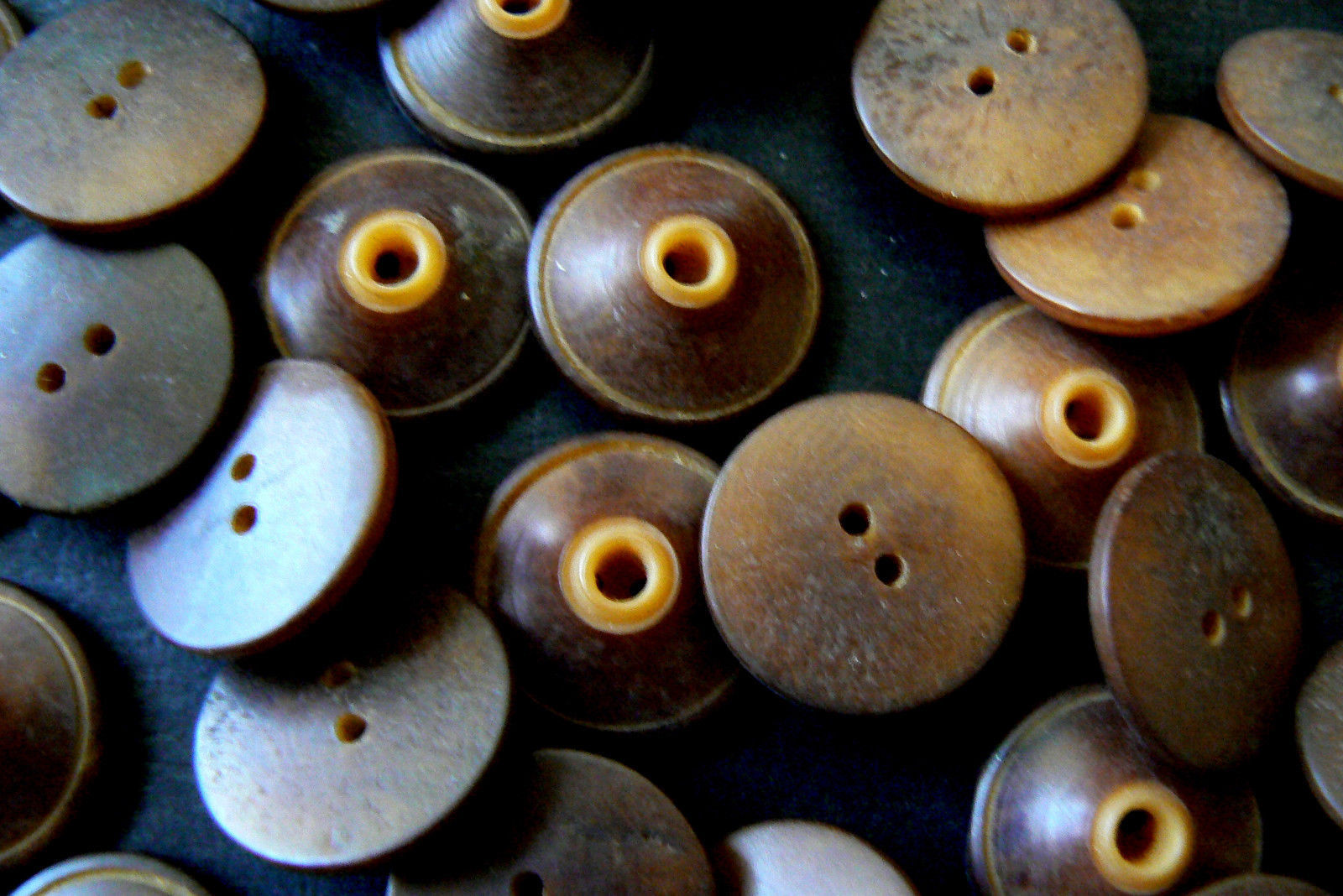 Primary image for Lot of 28 VTG Antique Vegetable Ivory Whistle Buttons Brown Tan Mix Color Match