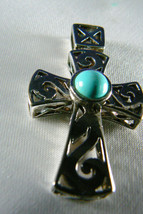 STERLING SILVER 925 FILIGREE  BLUE TURQUOISE STONE CROSS PENDANT - $59.00