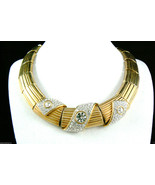 Swarovski Gold Plate Clear Crystal rhinestones Necklace Signed Authentic... - $343.20