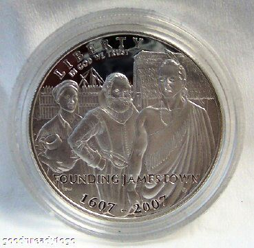 2007 US MINT JAMESTOWN 400TH ANNIV SILVER $ PROOF COIN