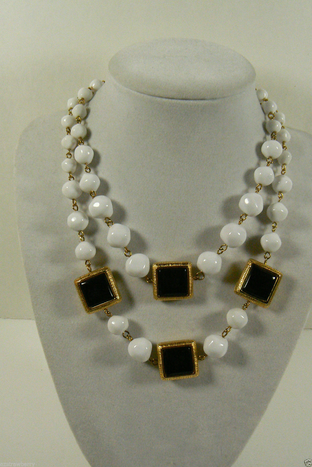 Primary image for LCi Black and White reversIble squares Two strand Gold tone Hook clasp Necklace