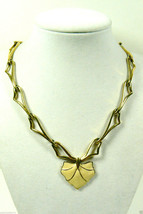 Vintage Monet Signed Gold tone metal link Ivory Color Enamel pendant nec... - $71.99