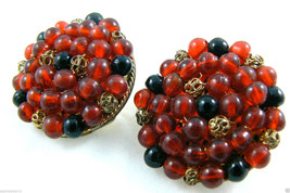 Vintage Cranberry Red & Black Glass Beads Clip On Earrings - $31.96