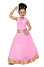 Pink solid kids party wear gown for girls - $29.95