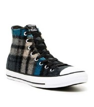 Converse Woolrich Wool Teal Grey Black Plaid Lined Hightop Shoes Unisex Disc New - $72.99