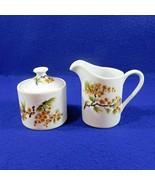 Small Oriental Sugar Creamer Set Pine Bough Flowers Japan Ceramic Fukagawa - $21.50