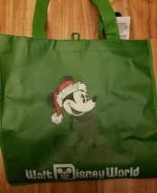 Walt Disney World Green Santa Mickey Mouse Reusable Shopping Tote Bag - $24.75
