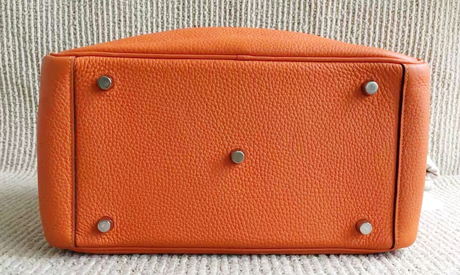 100% Authentic HERMES Taurillon Clemence Lindy 34 ORANGE Shoulder Bag PHW image 8