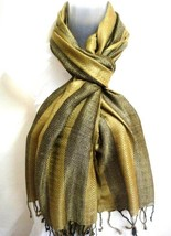 Unisex Men Women Scarf Stole Wrap Shawl Tassels Golden Olive Green Cotto... - $11.83