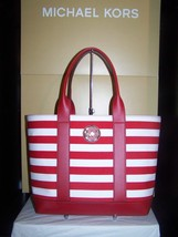 Michael Kors Fulton Red/White Striped Medium CanvasTote  $198 NWT - $129.95