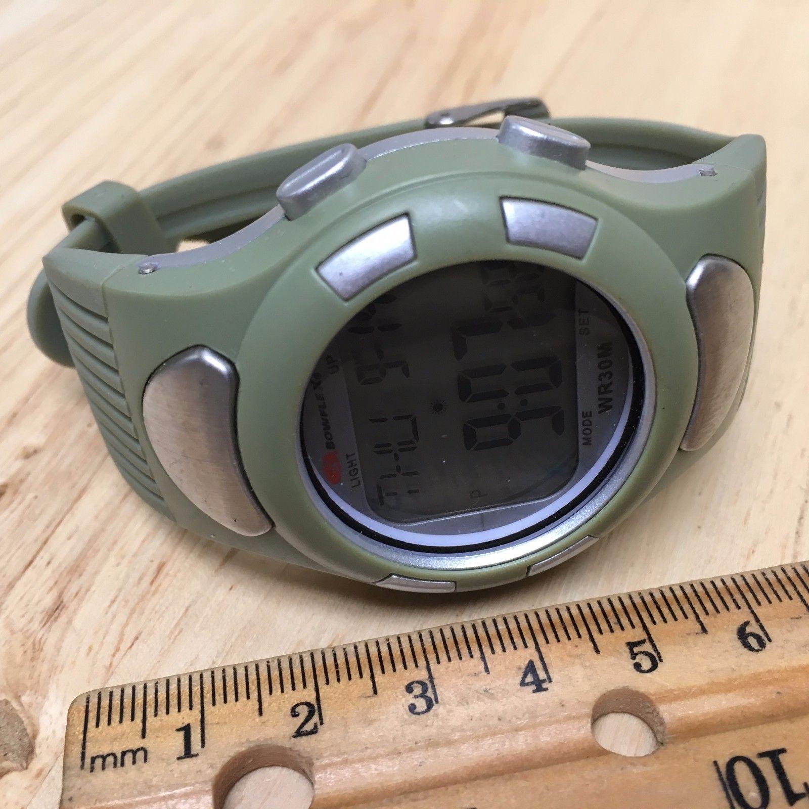 Bowflex Mens Silver Green LCD Digital Alarm Chronograph Watch Hours~New Battery