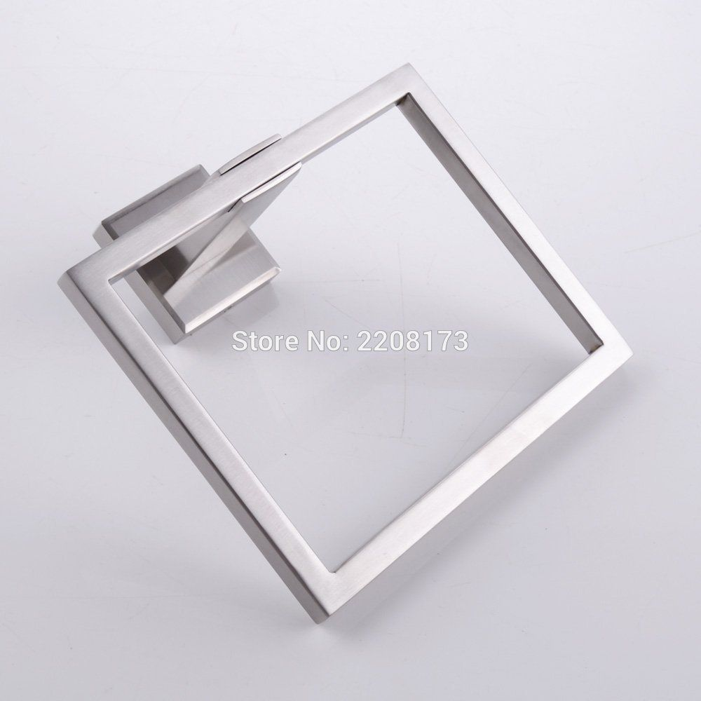 Stainless Steel Bathtub Towel Ring Hanging Hanger Wall Mounted Square Shape Type