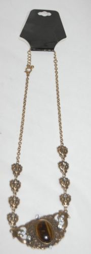 BVT NK Bronze 10 Inch Necklace Brown Stone Diamond Colored Stones