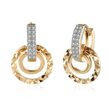 Hoop Earrings for womens Rhinestones Paved Vintage silver / Gold Color Brinco Je - $10.58