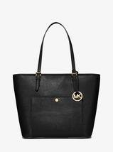 Michael Kors Jet Set Travel Black Leather/Polyester Lining Top-Zip Faste... - $399.99