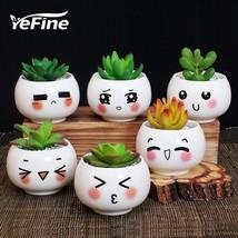 Emoticon Succulent Flower Pot 6Pcs Ceramic Small Garden Plant Holder Bon... - $56.39