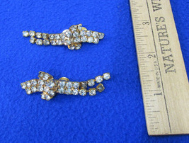 Vintage Womens Shoe Clips Gold Tone Metal w/ Clear Rhinestones Dress Up ... - $12.86