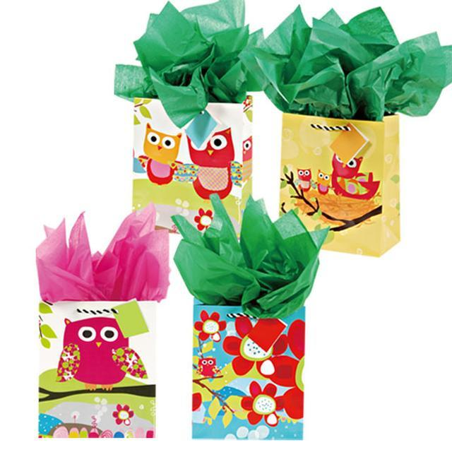 7 1/2W x 9H x 4G Medium Hoot Hoot Owl Family Matte Gift Bags, 4 Designs, Case of