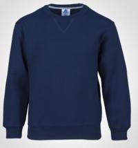 Russell Athletic Size S Small Youth Dri Power Fleece Crewneck Sweatshirt Navy