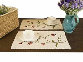 PANDA SUPERSTORE Set of 2 Natural Linen Embroidery Floral Placemats Lace Brim