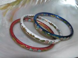 Estate Lot of 3 Red White & Blue Enamel Asian Cloisonne Floral Bangle Bracelet – image 1